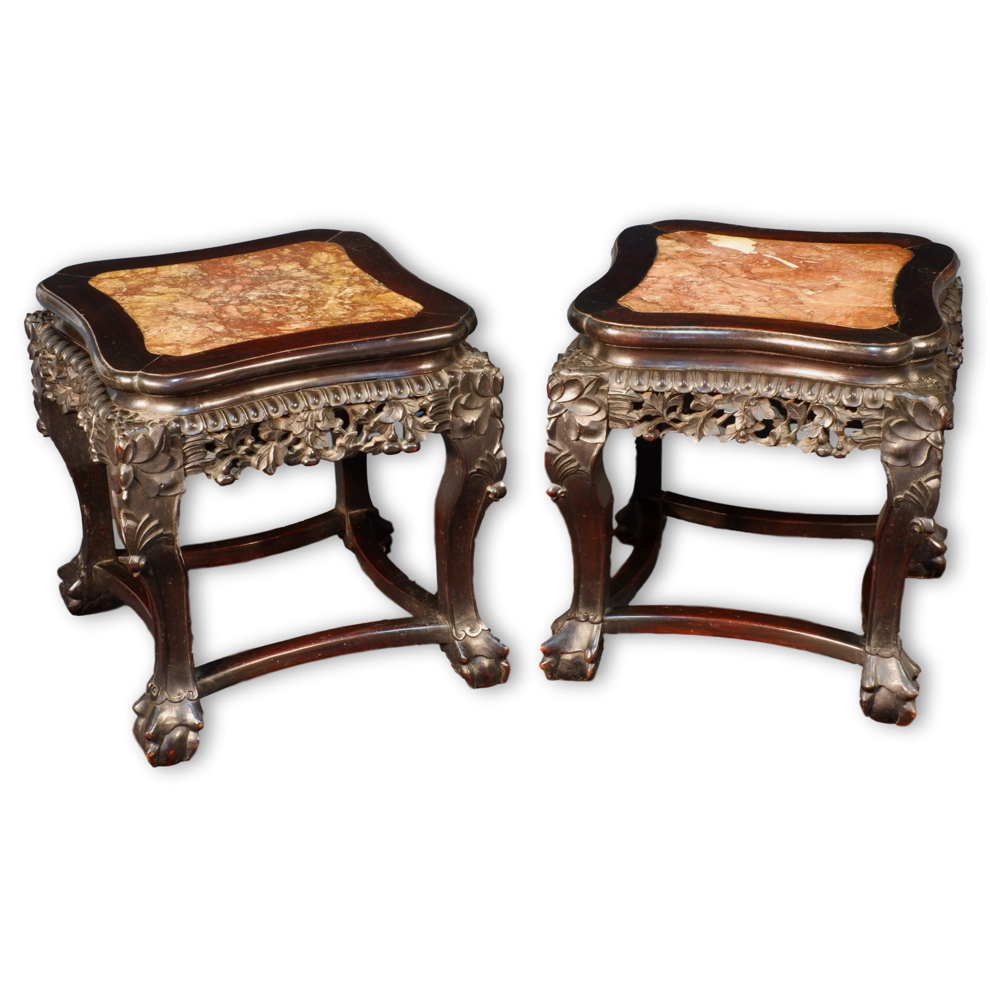 'Pair of Antique Chinese Export Carved and Stained Hongmu and Marble Inset Low Tables, Late 19th to Early 20th Century'