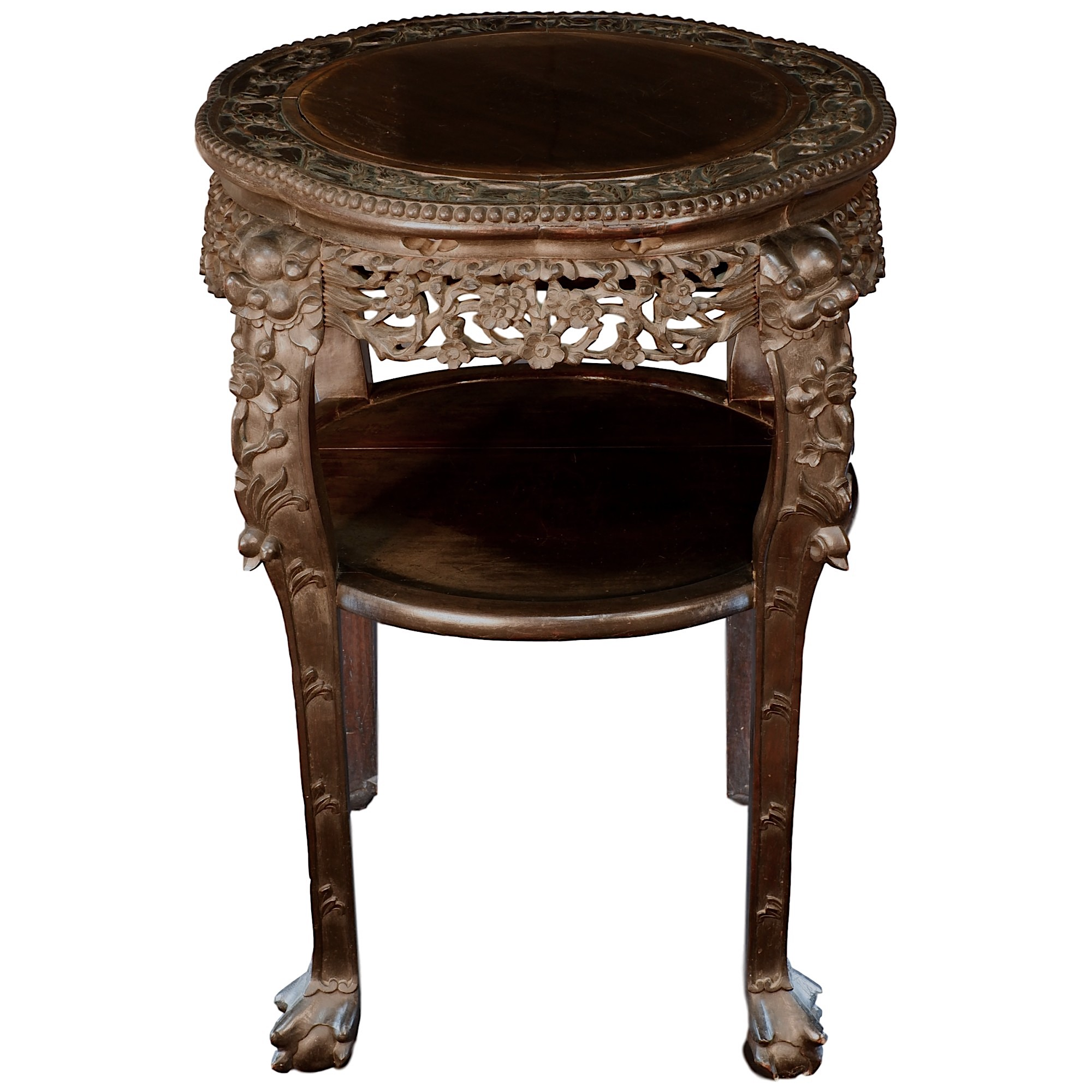 'Antique Chinese Export Carved and Stained Hongmu Tiered Lamp Table, Late 19th to Early 20th Century'
