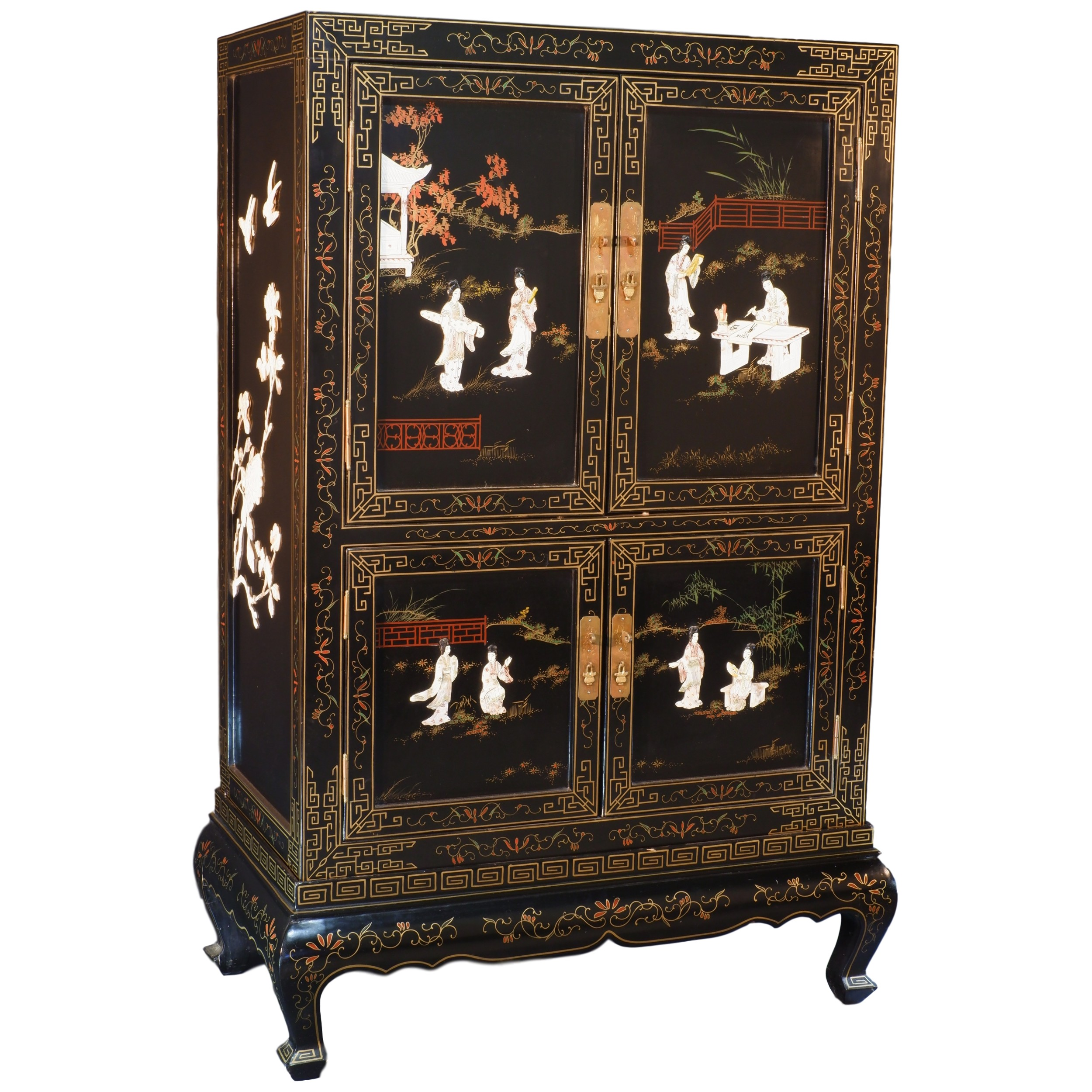 'Chinese Black Lacquer Cabinet with Carved Shell and Bone Embellishment 20th Century'