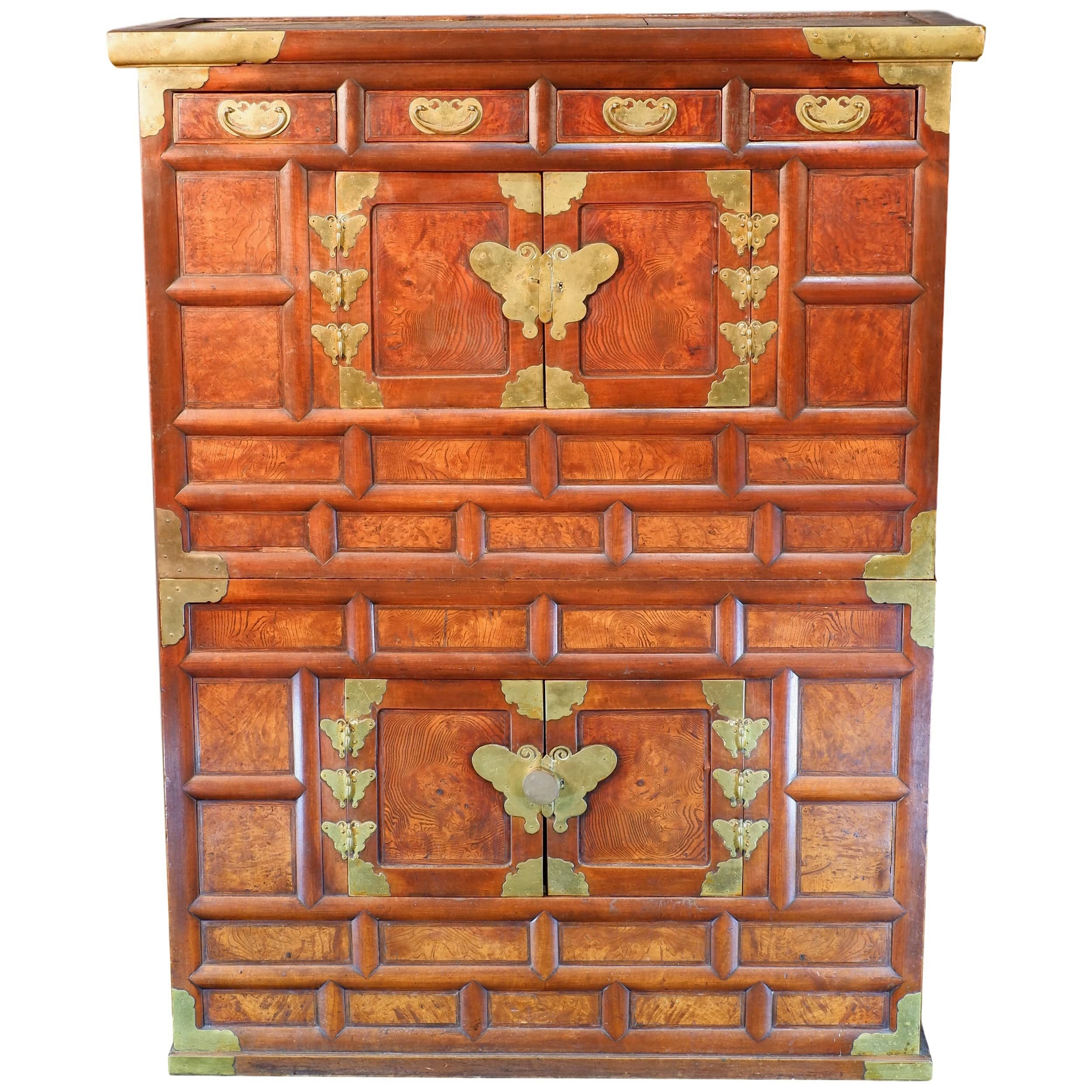 'Antique Korean Brass Bound Burlwood Tansu Cabinet'
