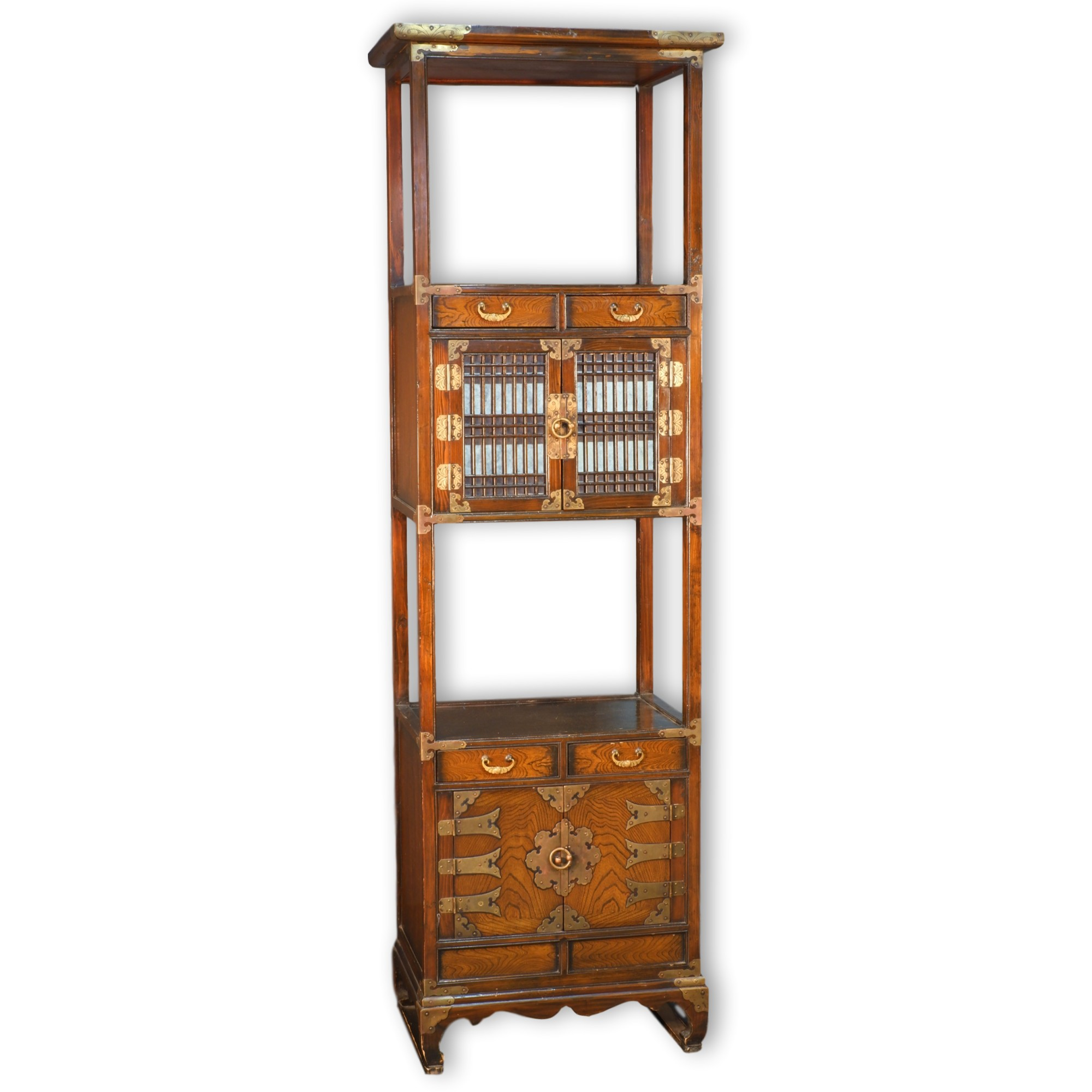 'Korean Brass Mounted Elm Pier Cabinet'