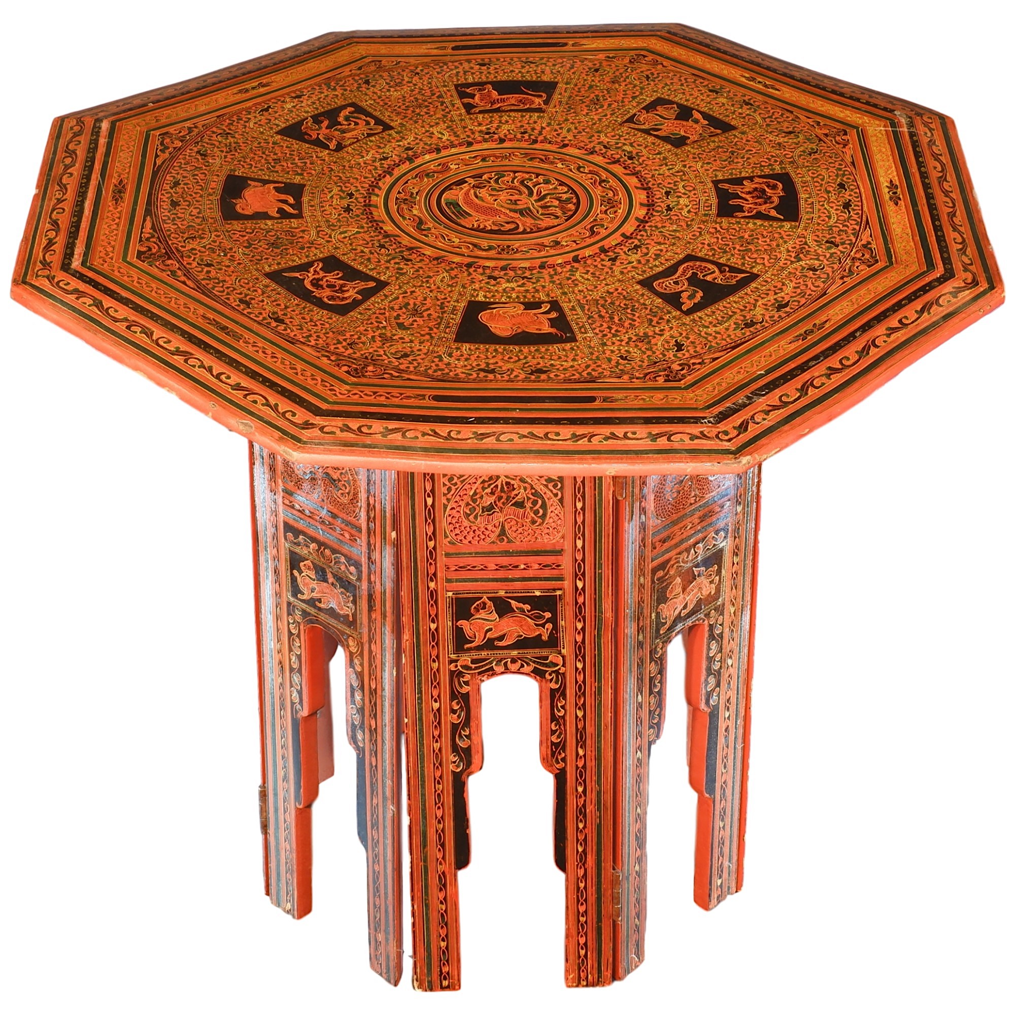 'Burmese Folding Octagonal Lacquer Table'