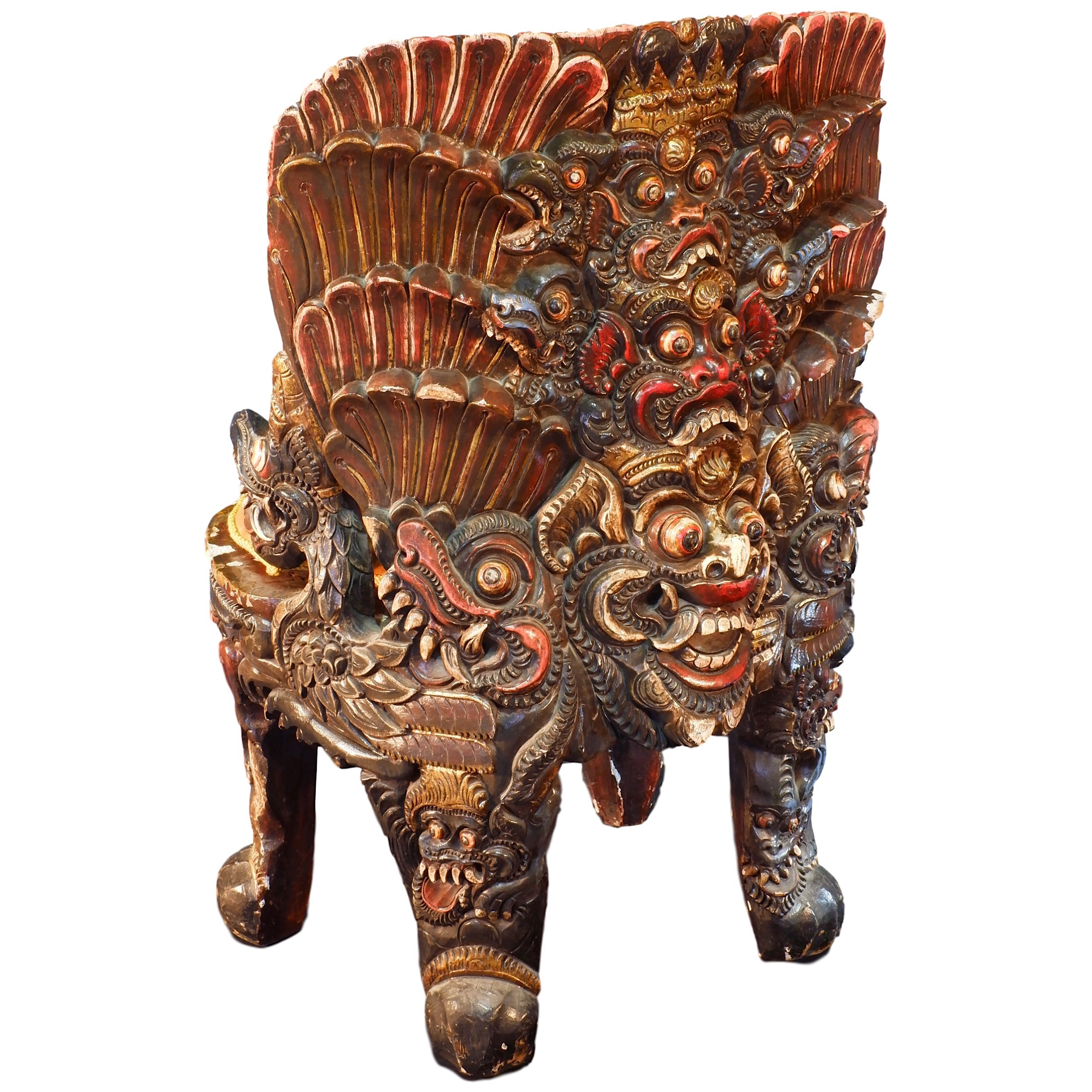 'Exceptional Balinese Carved and Polychrome Lacquered Wood Ceremonial Chair Early to Mid 20th Century'