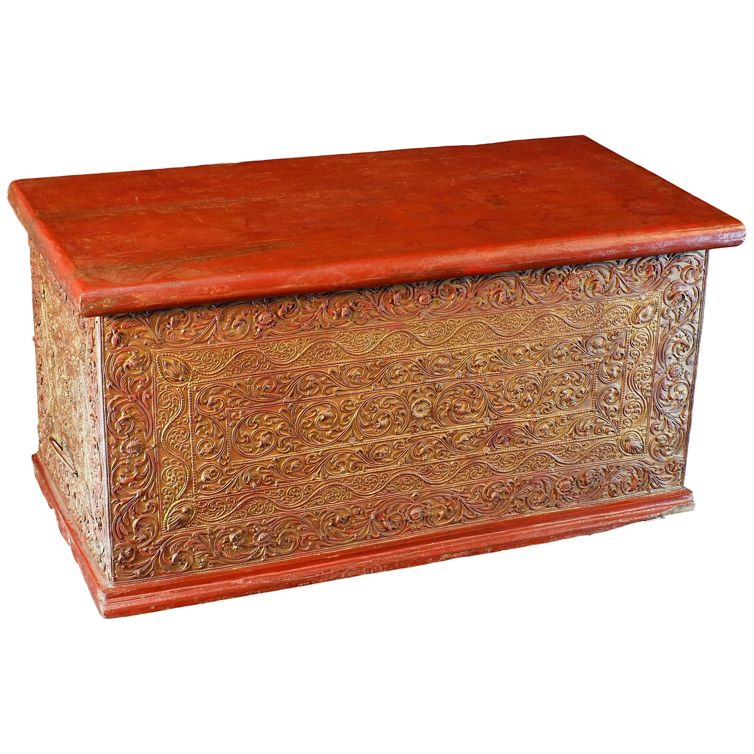 'Burmese Finely Carved and Lacquered Wood Mandalay Chest Early 20th Century'