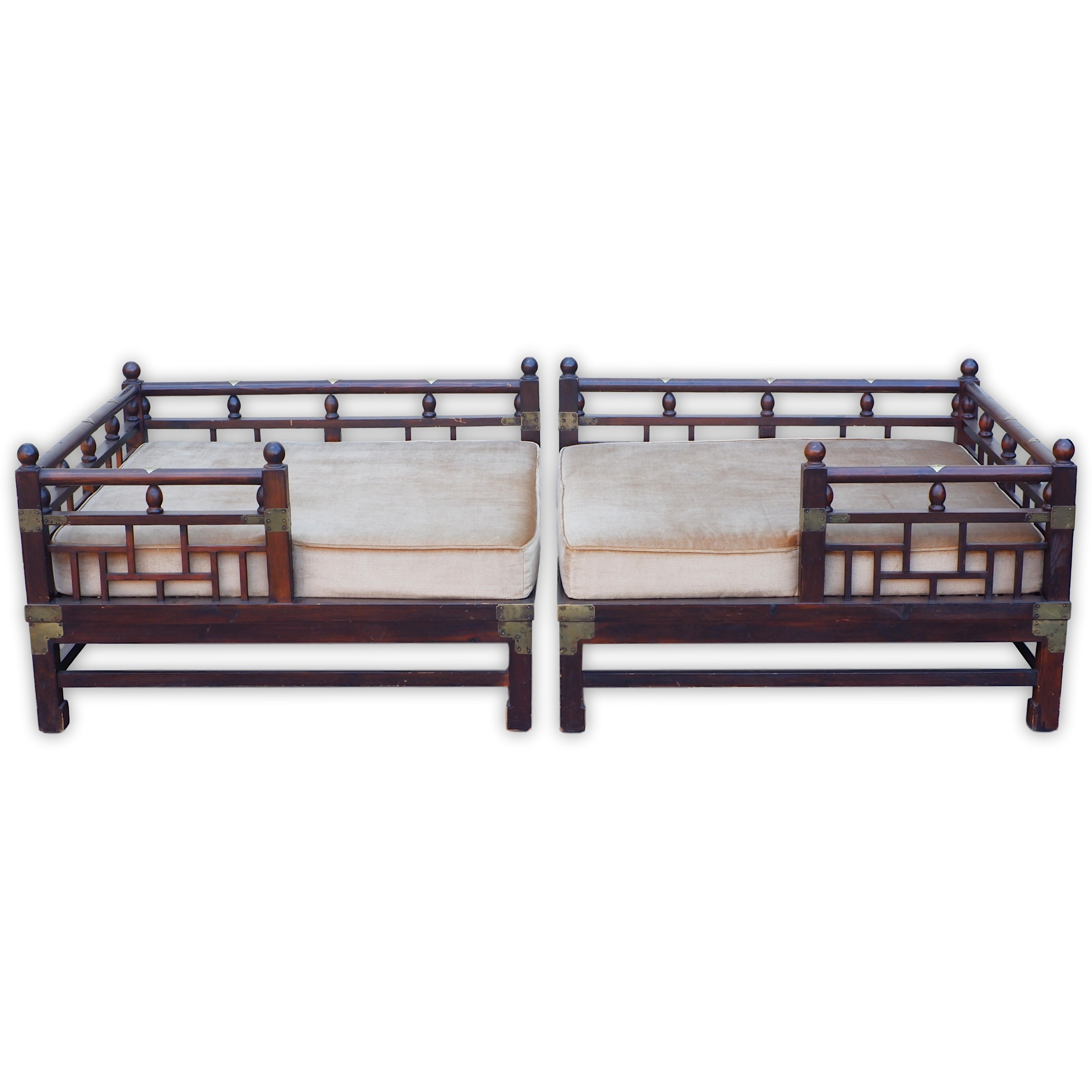 'Korean Courtesan Day Bed with Brass Embellishments'