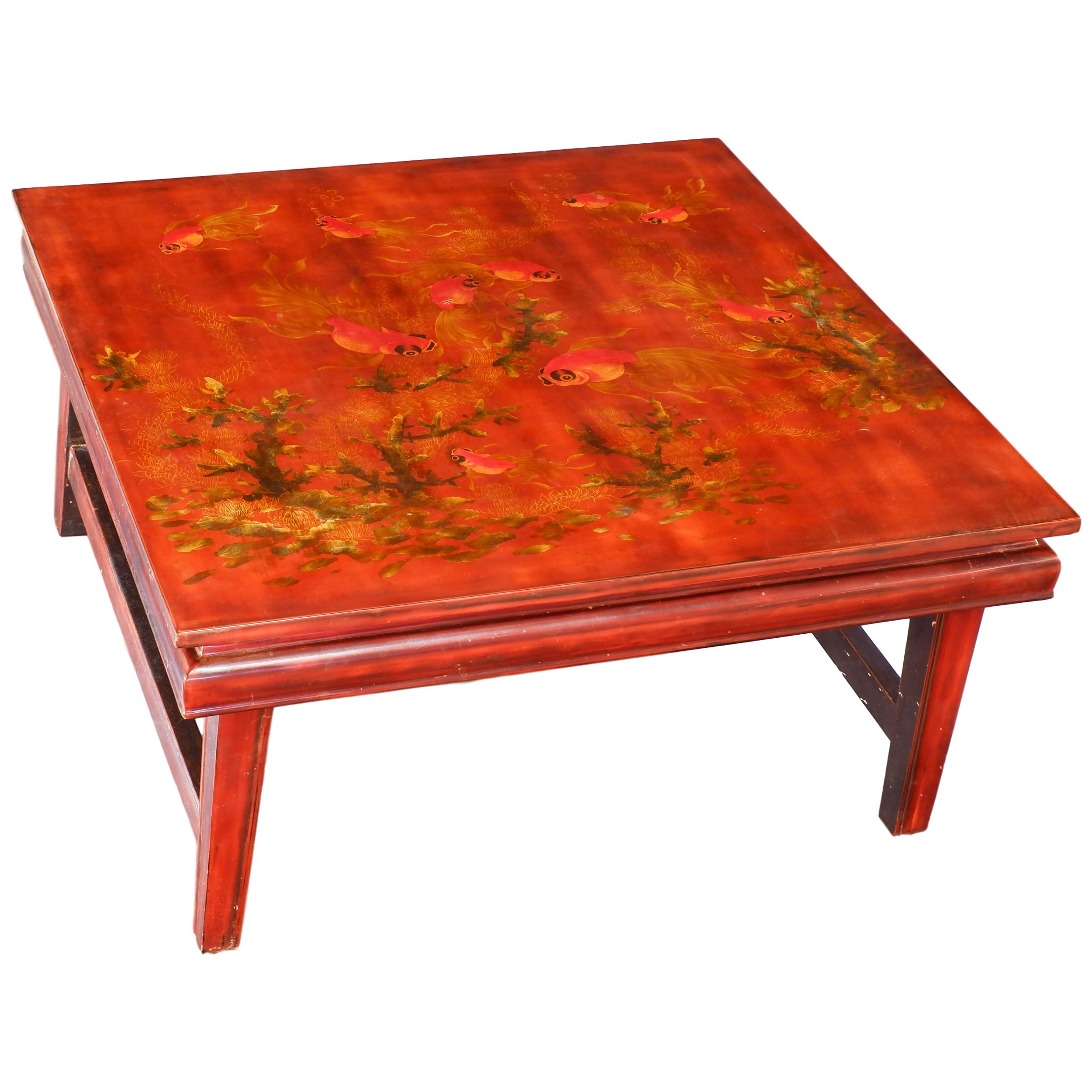 'Vietnamese Lacquer Low Table Decorated with Goldfish'