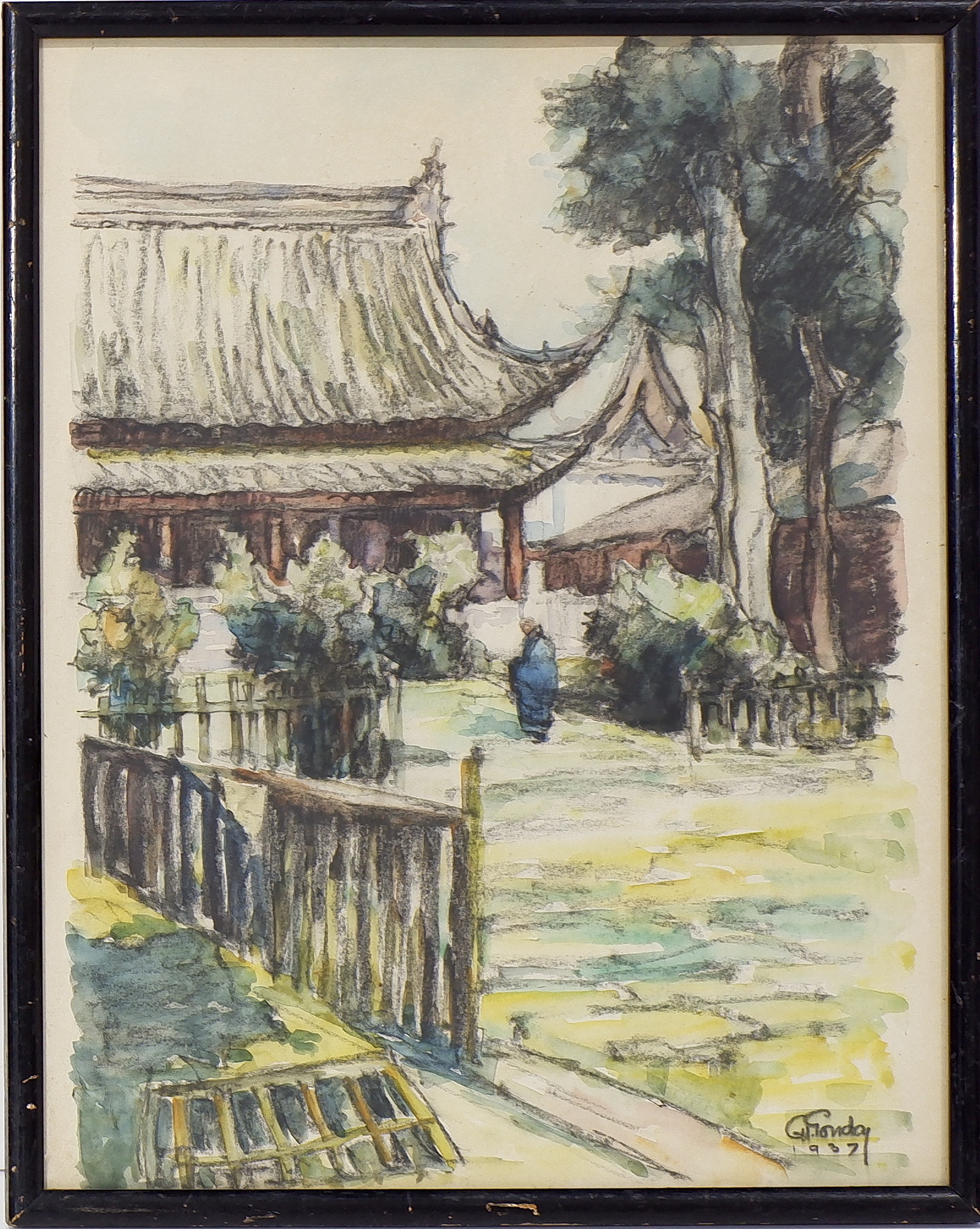 'Two Early Watercolours of China Signed GH Gonday and Dated 1937 and 1940'