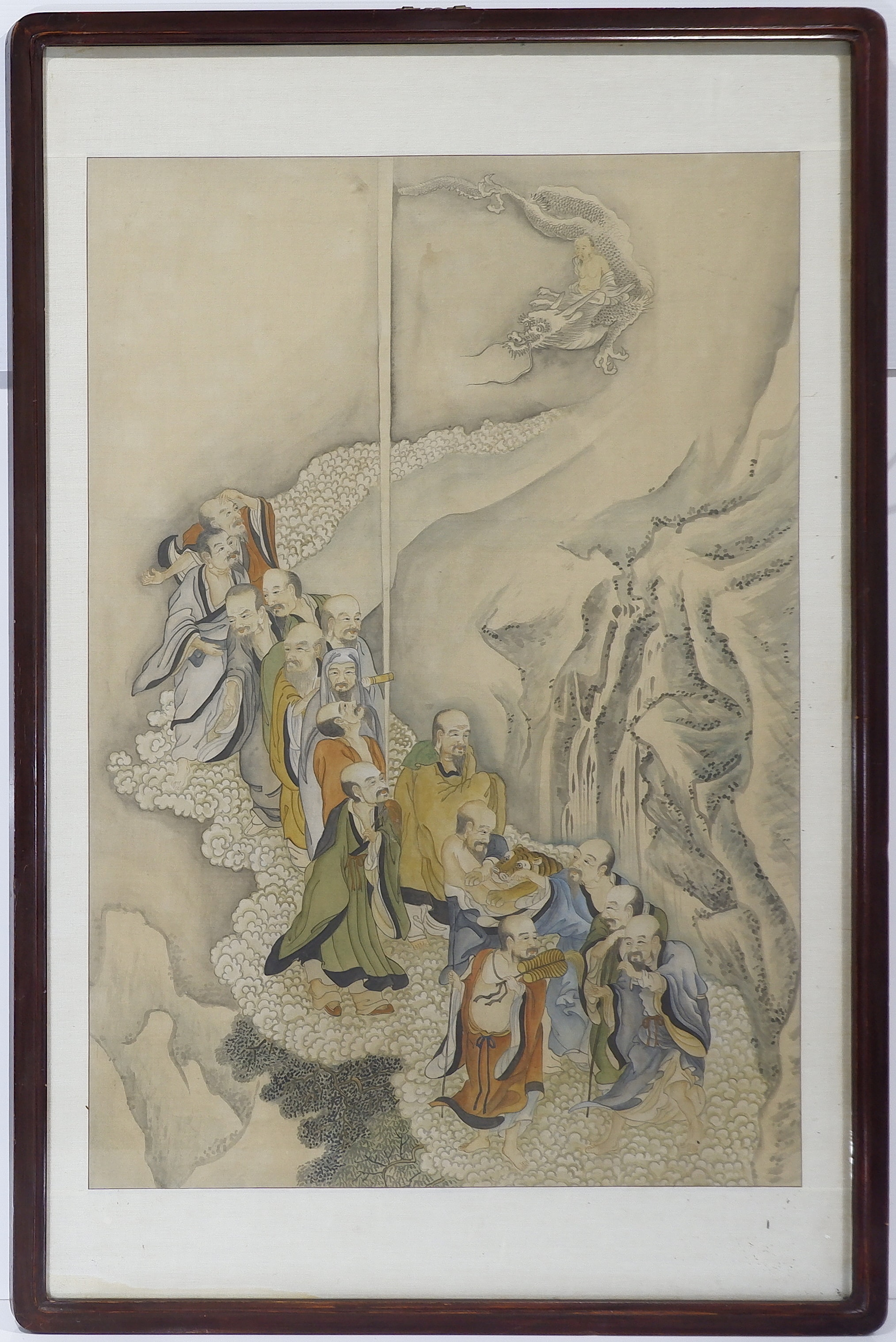 'Antique Asian Ink and Colour Painting of Immortals and Dragon'