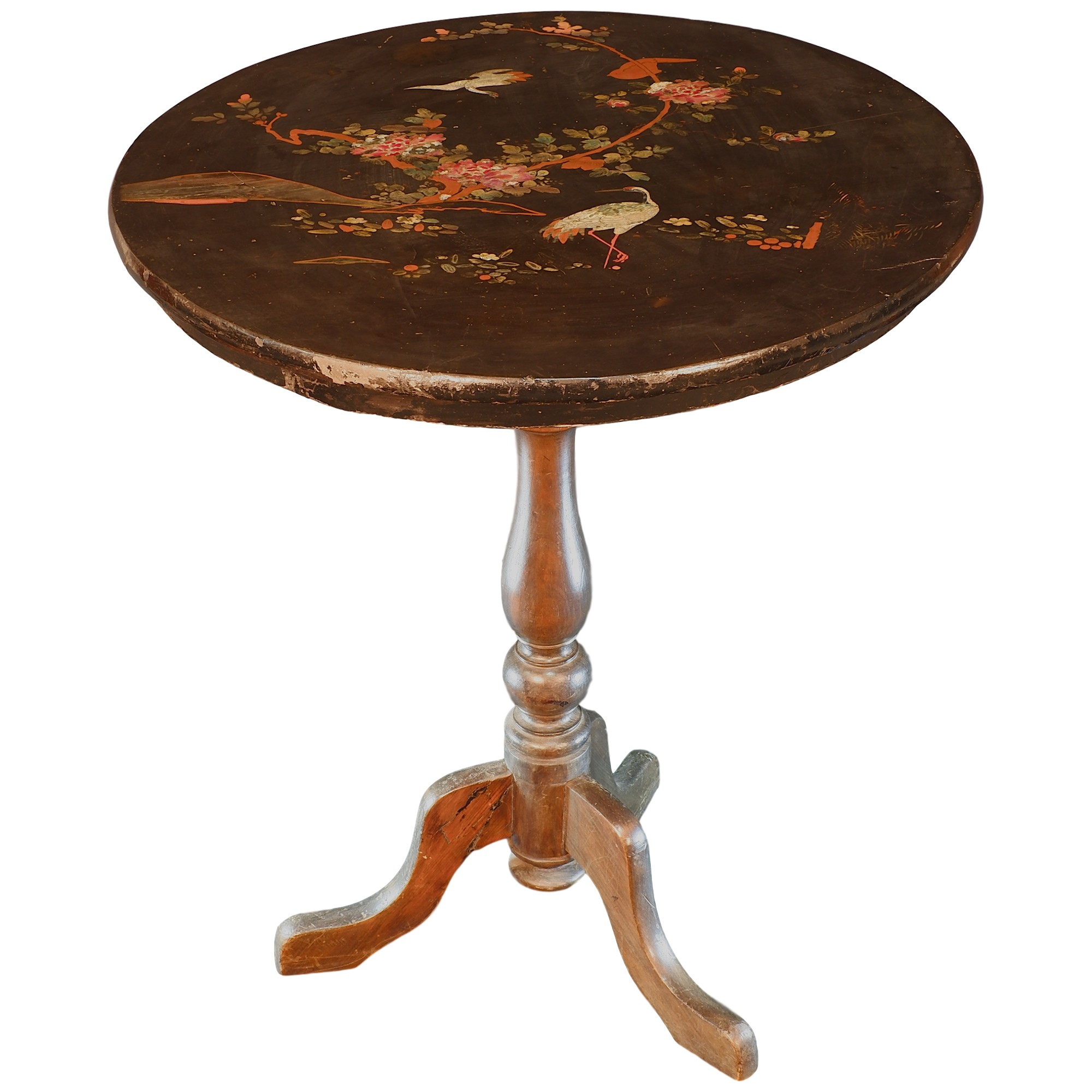 'Antique Chinoiserie Style Tripod Wine Table with Lacquer Decorated and Pearl Shell Inlaid Top, Late 19th Century'