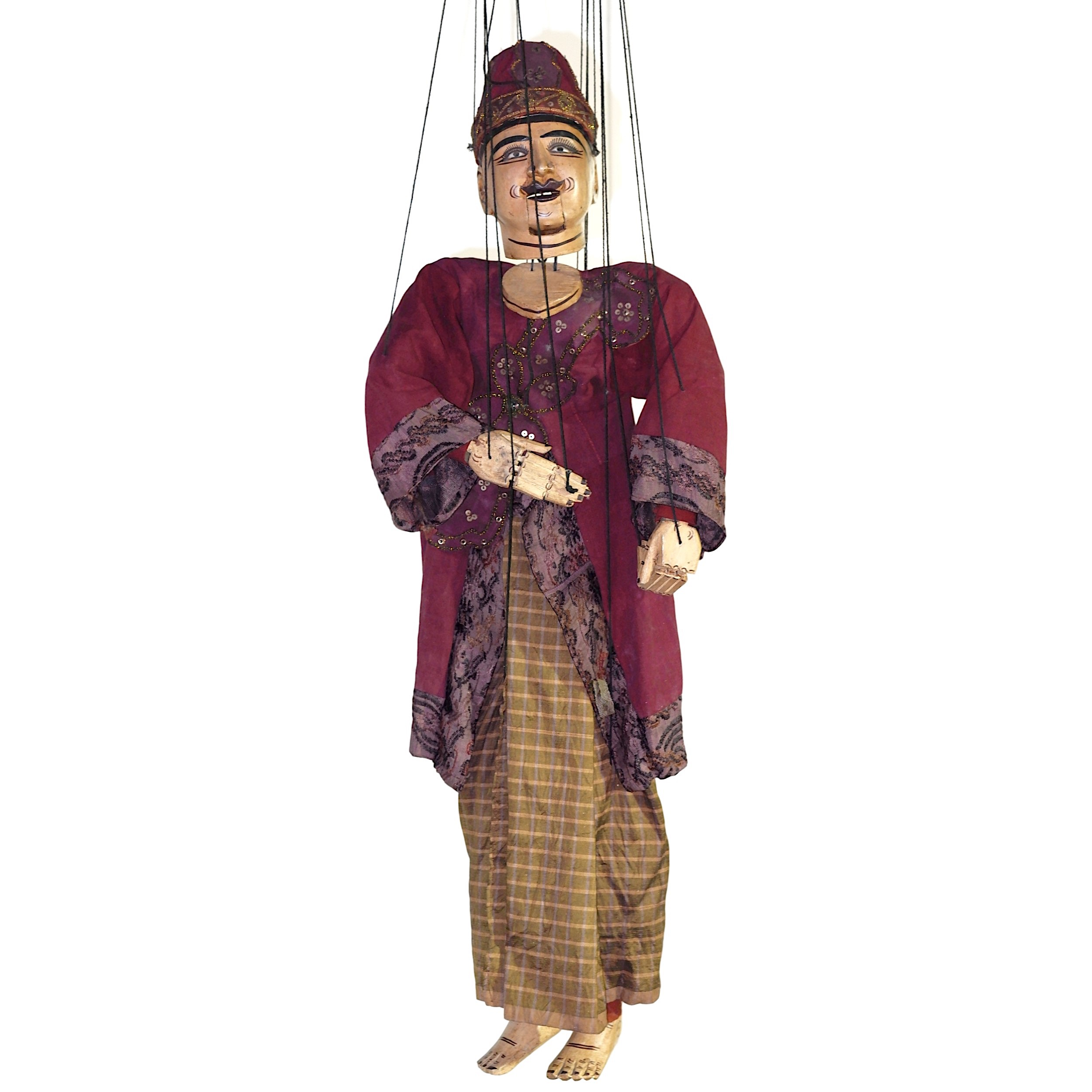 'Old Burmese Marionette Puppet with Display Stand'