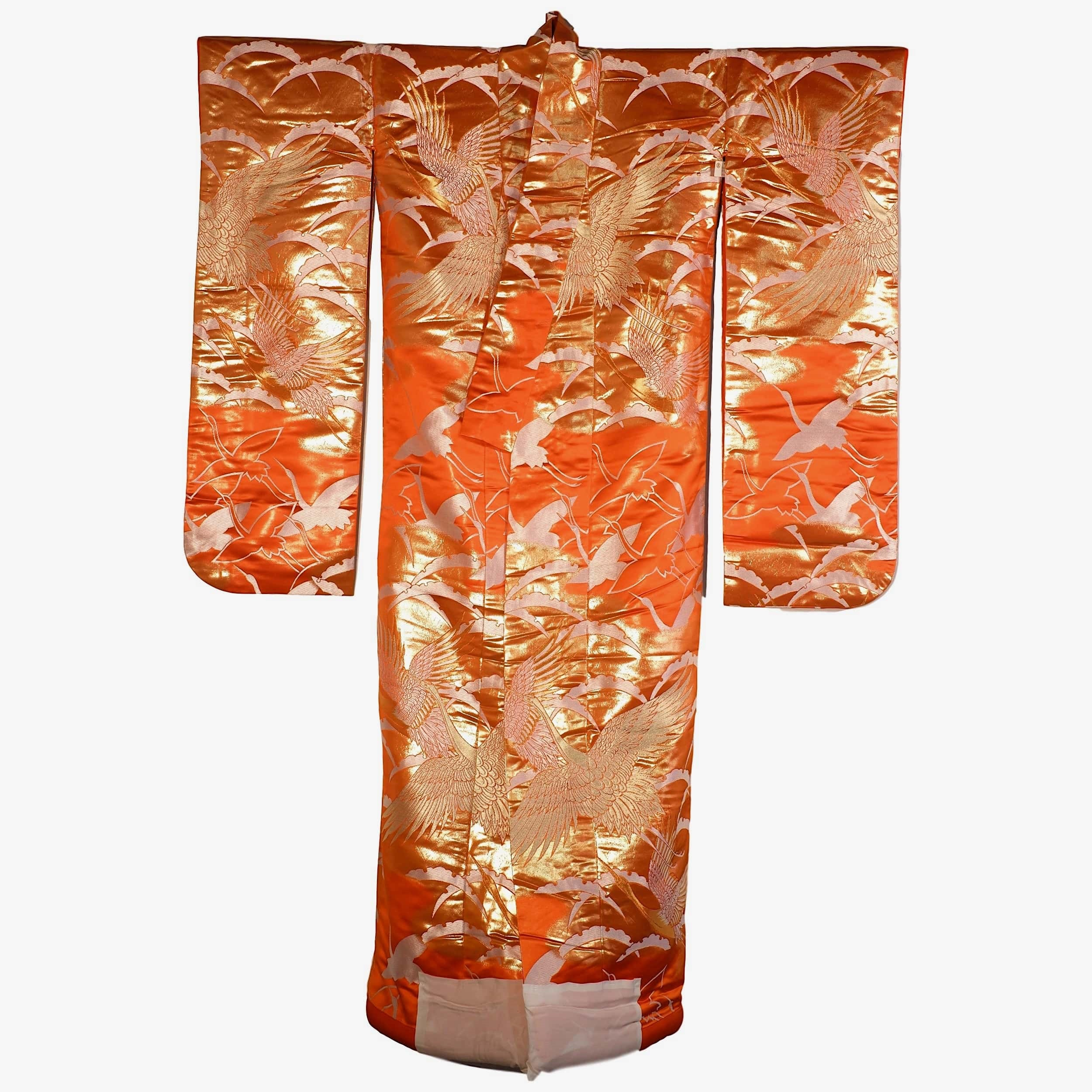 'Vintage Japanese Wedding Kimono Orange Satin Ground with Gold and Silver Metal Thread Brocade'