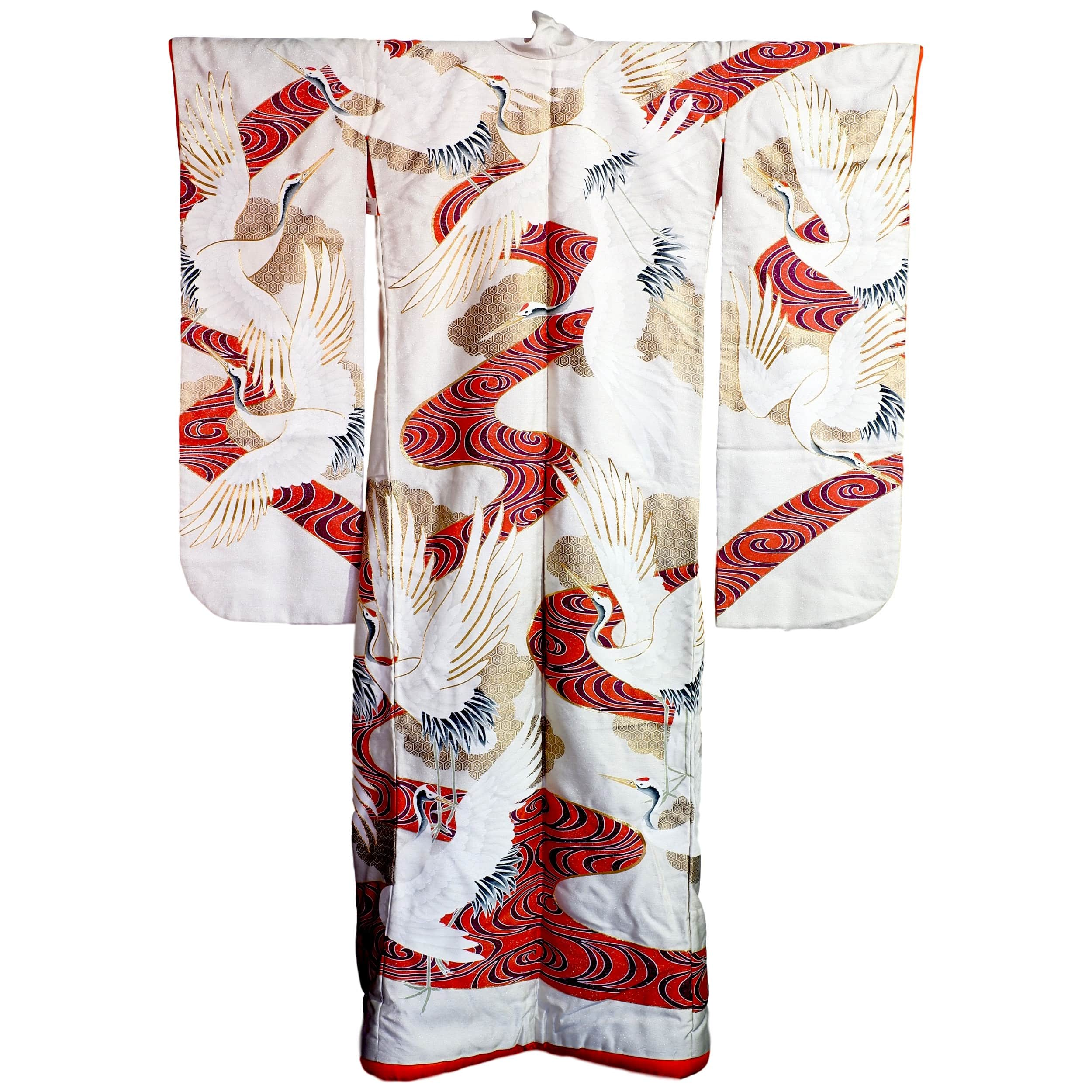 'Vintage Japanese Wedding Kimono Cream Ground with Printed and Metal Thread Embroidery'