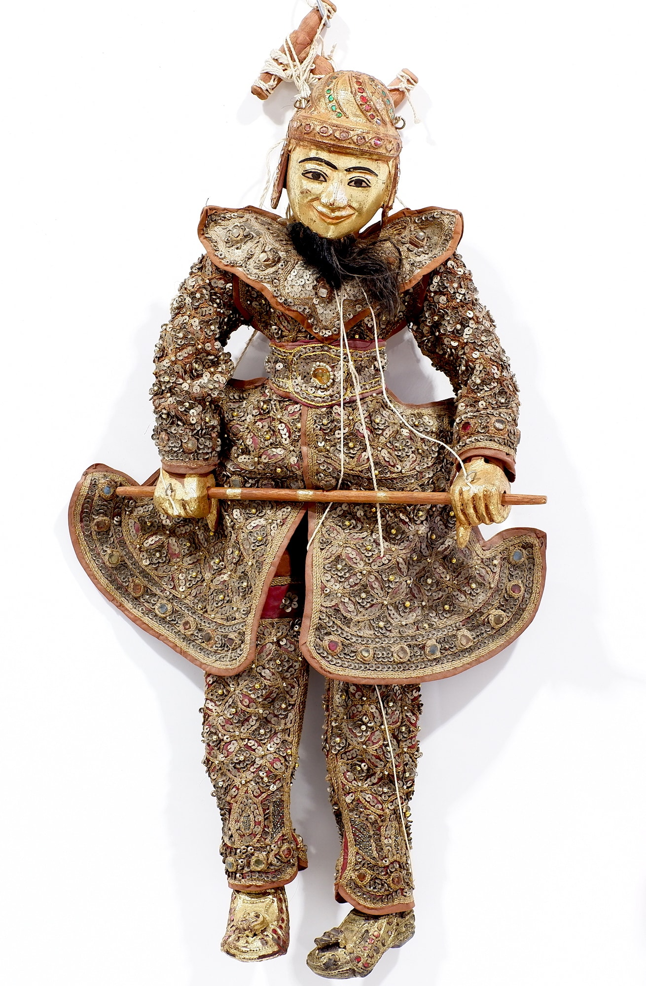 'Old Burmese Marionette Puppet with Lavishly Sequined Garments and Glass Jewells'