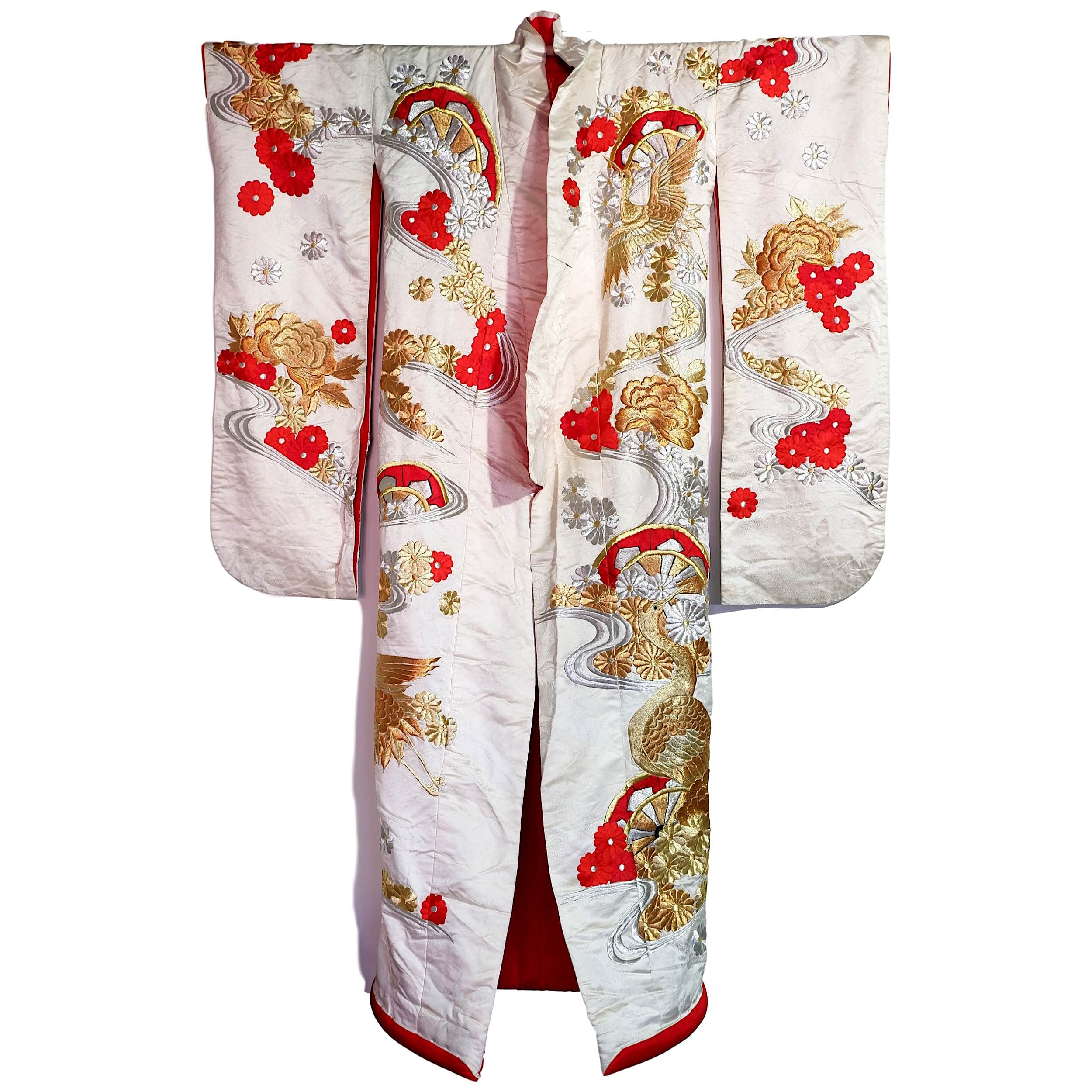 'Fine Vintage Richly Embroidered Japanese Silk Kimono'