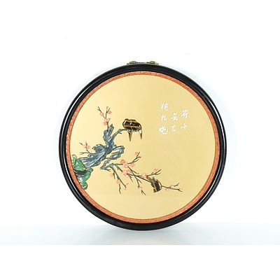 Chinese Carved Hardstone Embellished Picture of Birds on Cherry Blossom