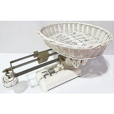 Antique Baby Scales with Wicker Basket