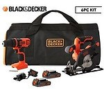 Black & Decker 18V Drilldriver & Circular Saw 6-Piece Kit - RRP $229 - Brand New