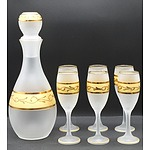 Cristallerie Zoppi Seven Piece Frosted Glass Decanter Set - New
