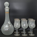 Decorato A Mano Seven Piece Frosted Glass Decanter Set - New