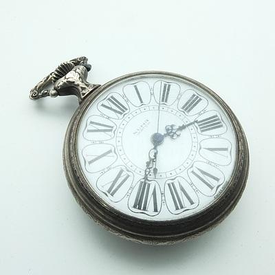 Swiss Numa Pocket Watch With Lounging Couple Motif on Back Face
