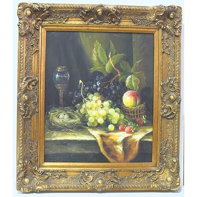 Still Life with Grapes Oil on Board in an Impressive Giltwood and Moulded Gesso Frame