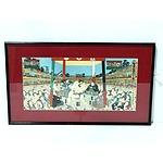After Utagawa Kunisada Toyokuni III Sumo Wrestlers, Woodblock 20th Century
