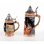 Two German Lidded Beer Steins