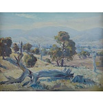 GRIFFIN, Ambrose (1912-1980): 'Smoke Haze, Myrtleford' Oil on Canvas on Board