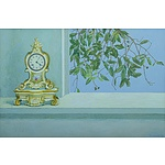 LAVERTY, Ursula (b.1930): 'Clock and Turpentine Tree,' 1984. Oil on Canvas