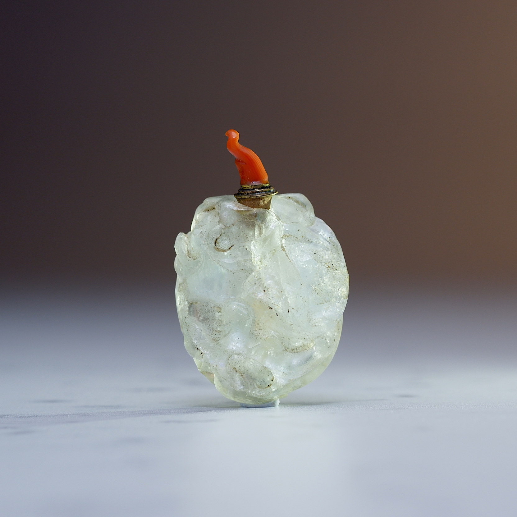 'Antique Chinese Rock Crystal Snuff Bottle Carved as a Melon'