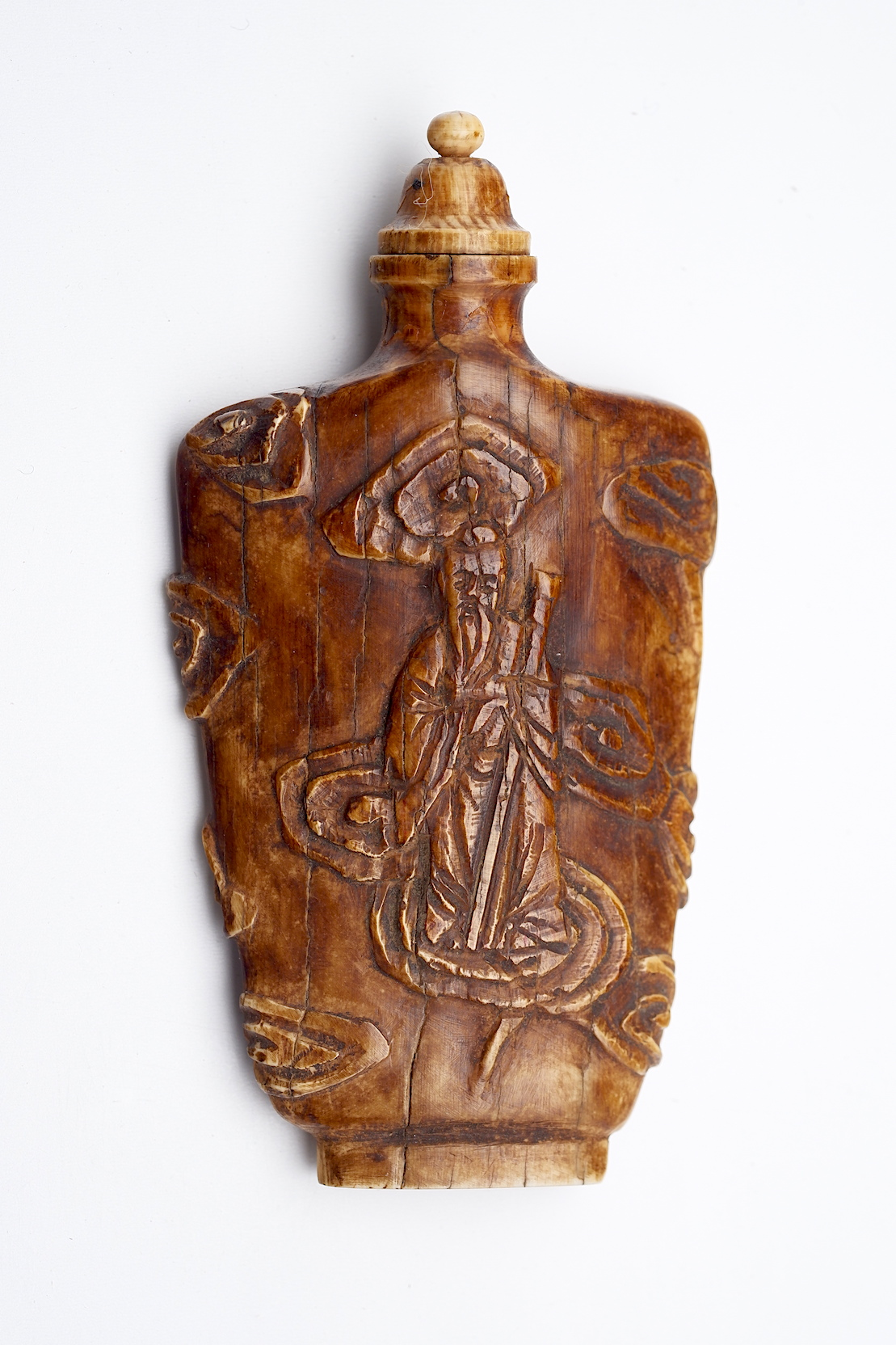 'Chinese Carved Bone Snuff Bottle'