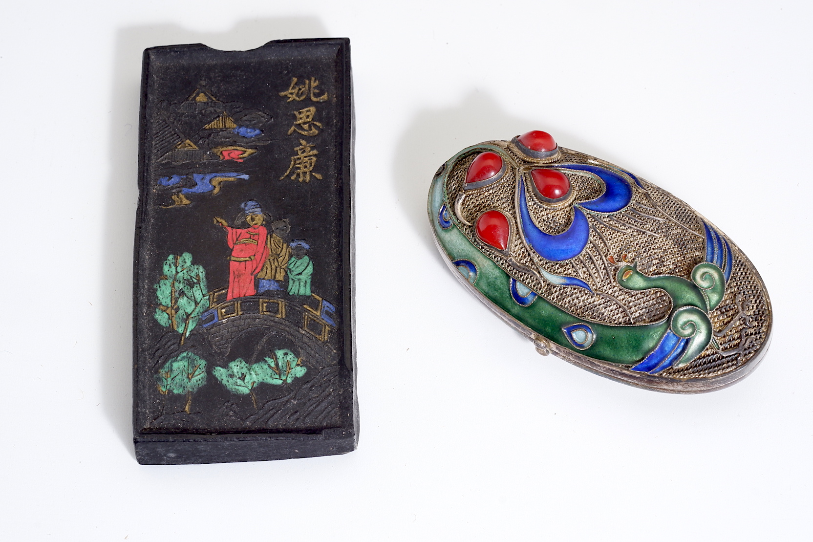'Chinese Ink Cake and a Silver and Enamel Pill Box'