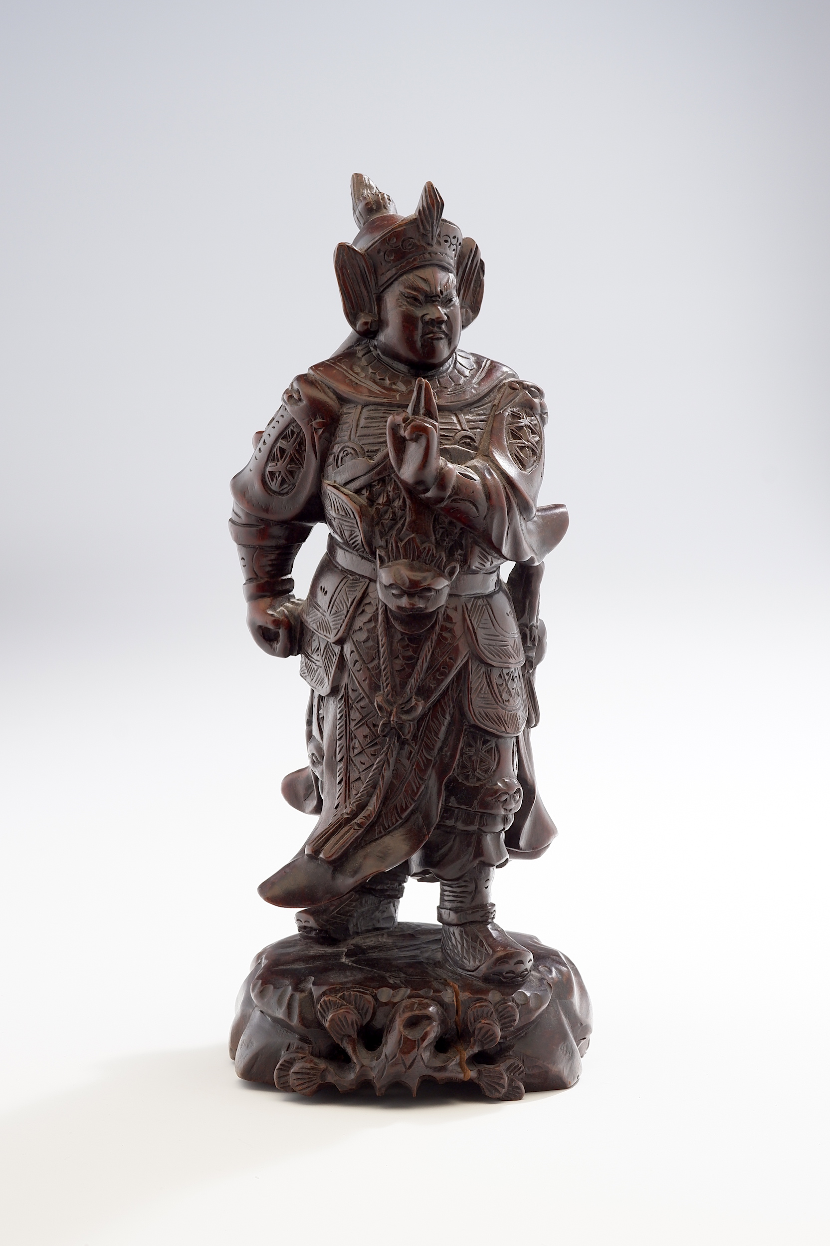 'Chinese Carved Hardwood Figure of a Warrior'