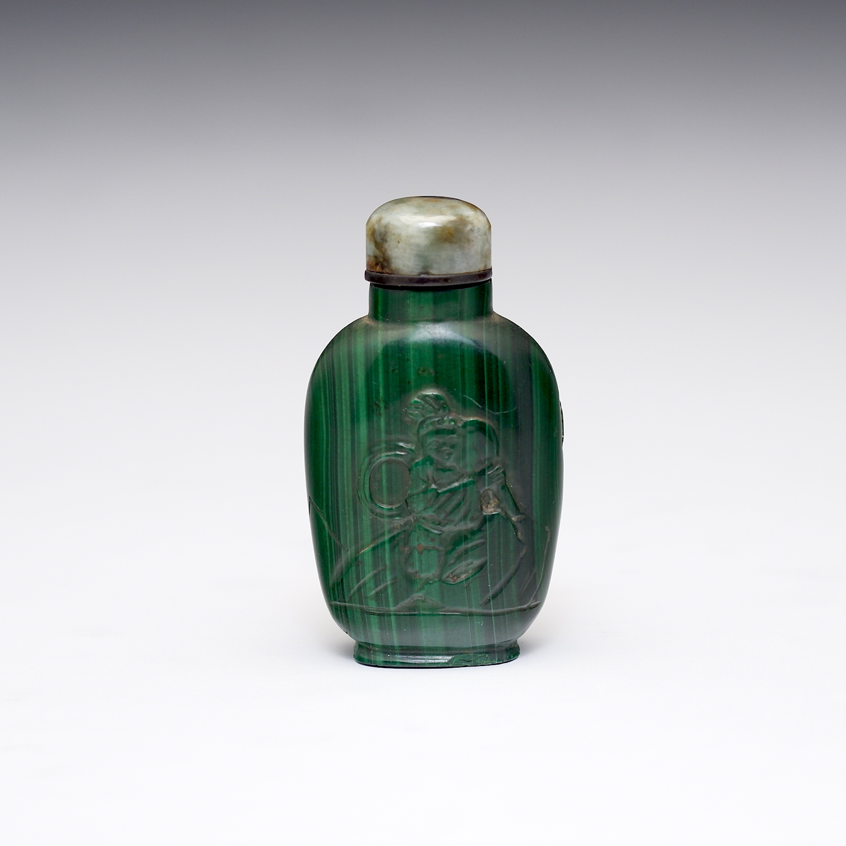 'Antique Chinese Carved Malachite Snuff Bottle with Quartz Stopper'
