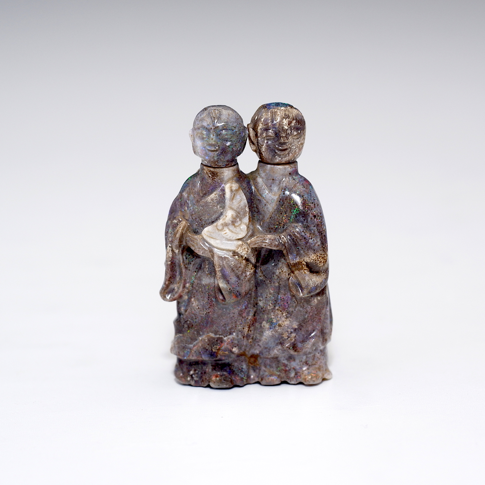 'Chinese Labradorite Snuff Bottle Finely Carved as Two Courtesans'