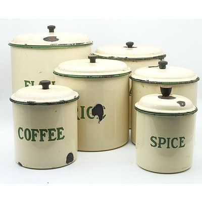 Group of Six Vintage Nesting Metal and Enamel Canisters