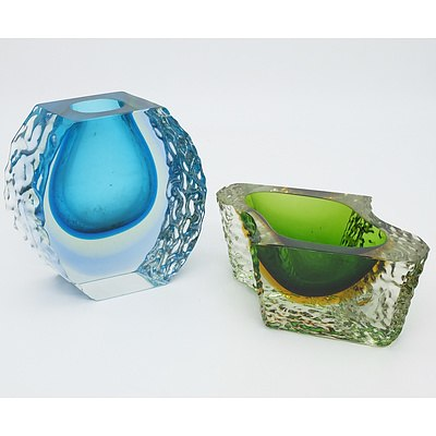 Two Murano Sommerso Glass Vases