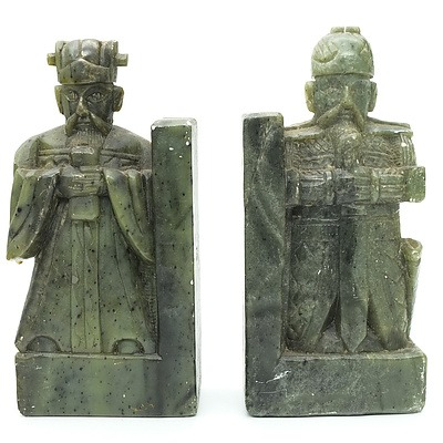 Pair of Carved Soapstone Knight Bookends