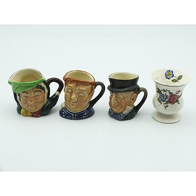 Three Miniature Royal Doulton Toby Jugs Fat Boy, Micawber, Gamp and Another