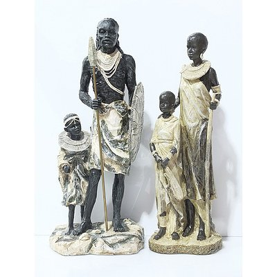 Two Cast African Figural Groups