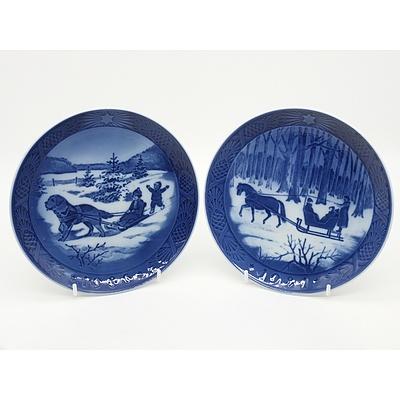 Two Royal Copenhagen Christmas Plates Including Christmas Holidays and Jingle Bells