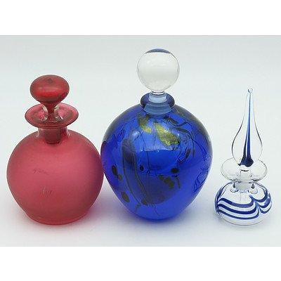 Group of Three Glass Perfume Bottles