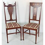 Two Antique Arts and Crafts Inlaid Mahogany Side Chairs