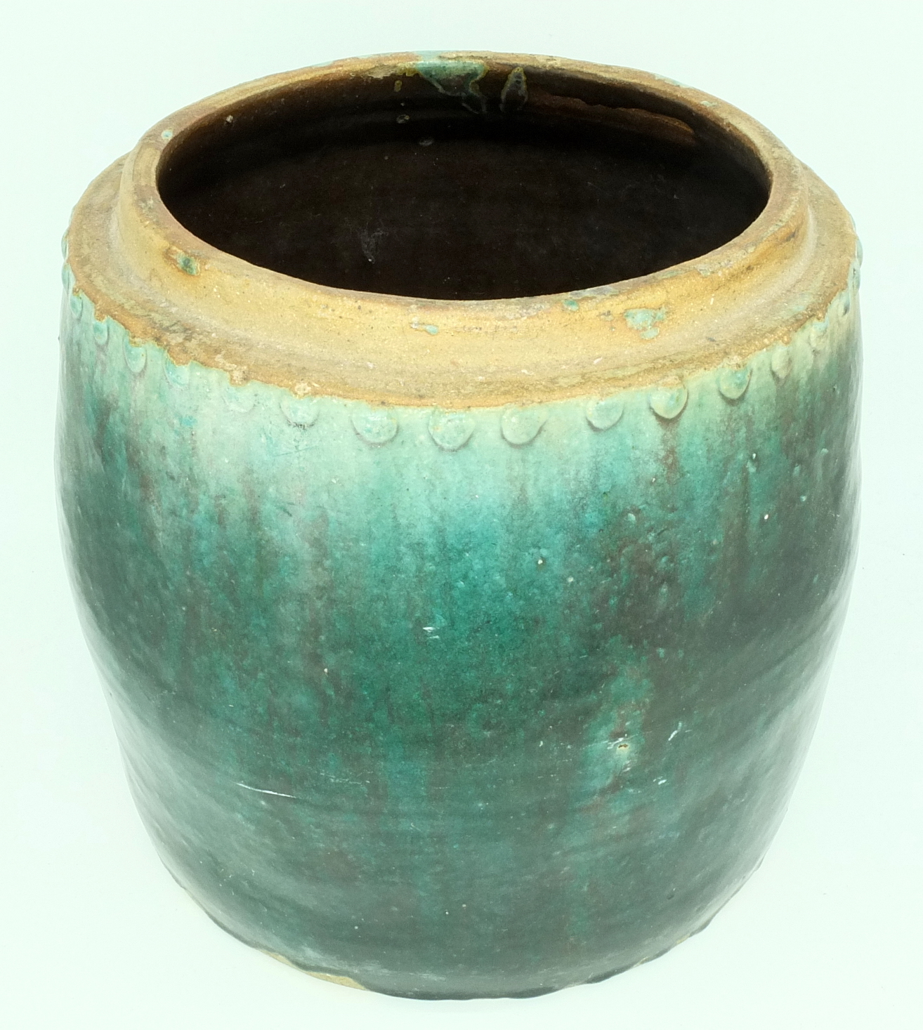 'Asian Green Glazed Stoneware Jar Without Cover'