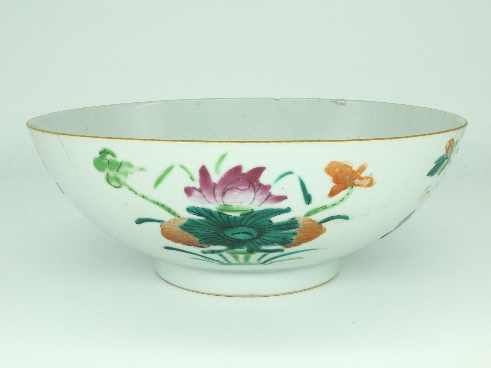 'Chinese Famille Rose Bowl with Endless Knot Mark Late Qing, 19th Century'