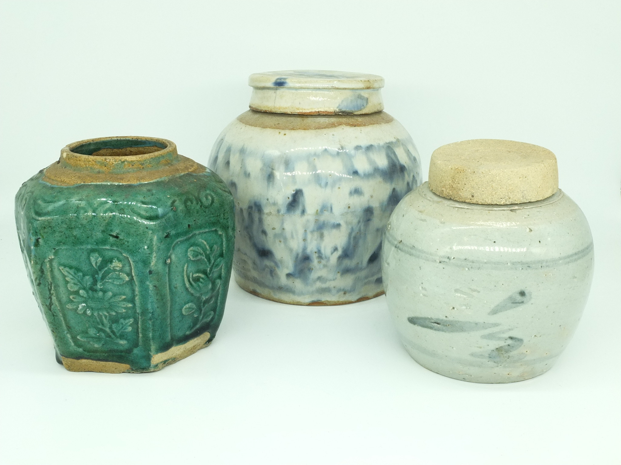 'Three Various Antique Chinese Jars'