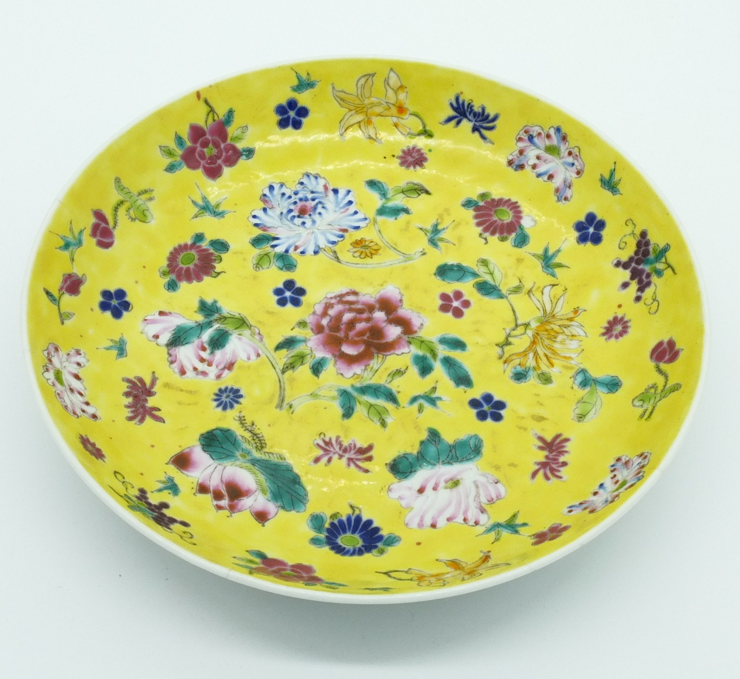 'Chinese Yellow Ground Famille Rose Dish Republic Period 20th Century'