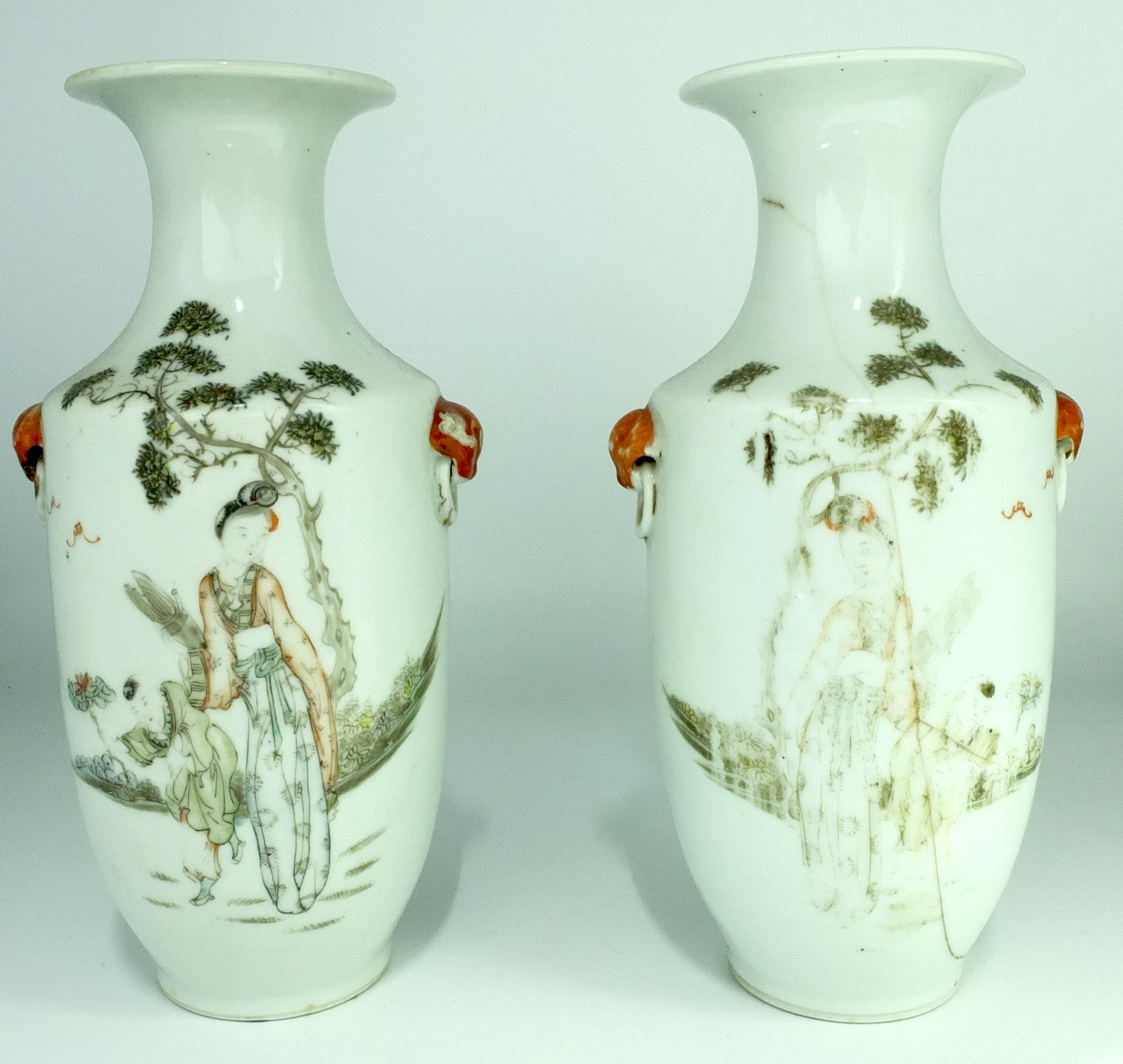 'Pair Chinese Grisaille Enamelled Vases Late Qing, 19th or Early 20th Century'