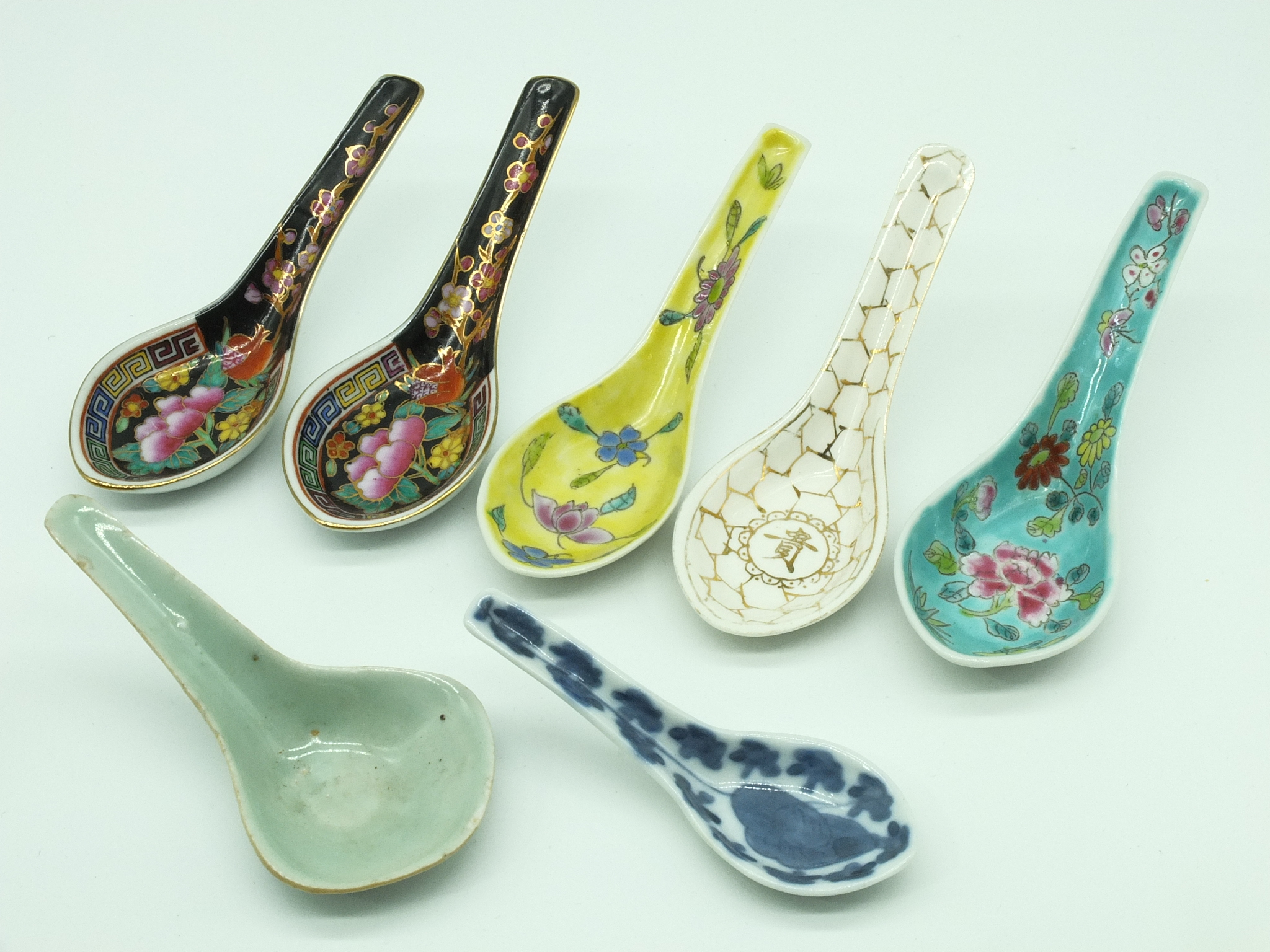 'Seven Various Chinese Porcelain Spoons 20th Century'