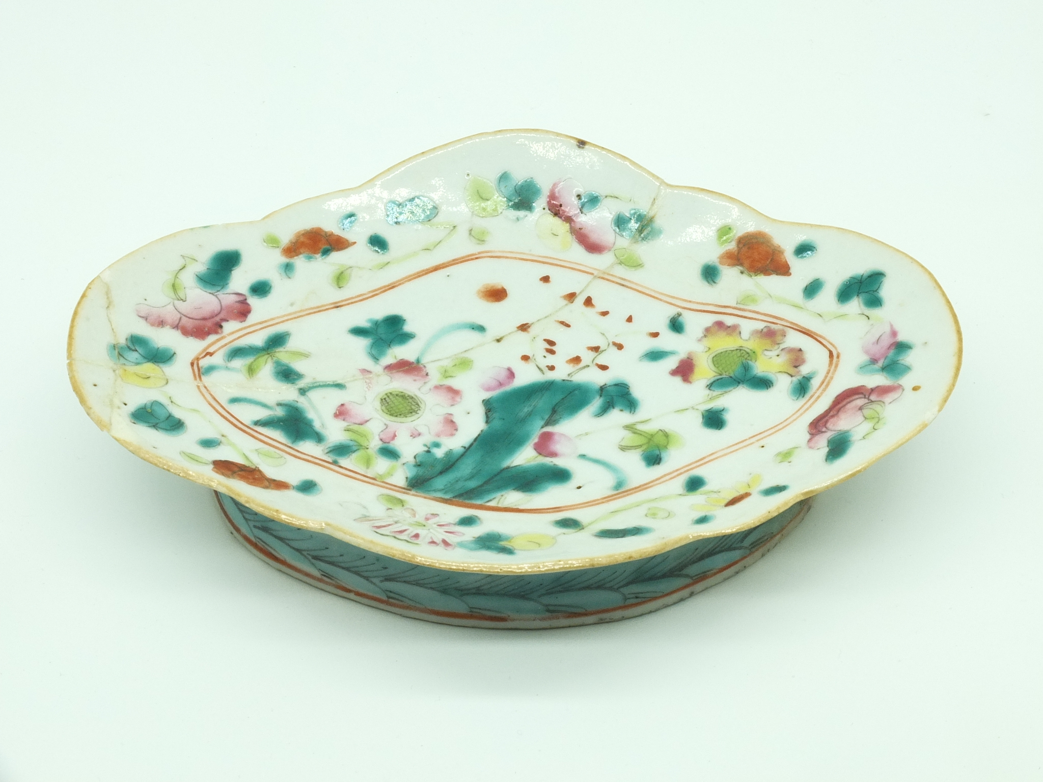 'Chinese Famille Rose Lobed Footed Dish Late Qing 19th Century'